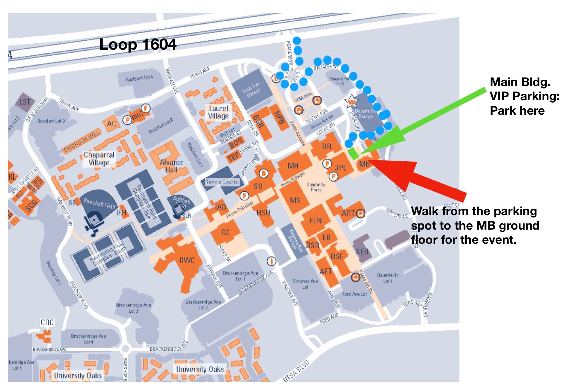 uc main campus map Vip Parking For Uc Events Utsa Campus Map With Driving Directions uc main campus map