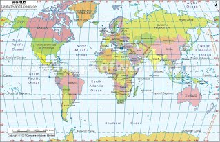 World Map With Longitude And Latitude Lines Global Position   Van Biography