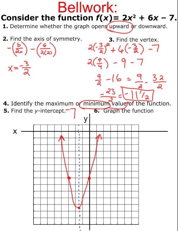 2 2 Properties Of Quadratic Functions In Standard Form Day 2 Mr