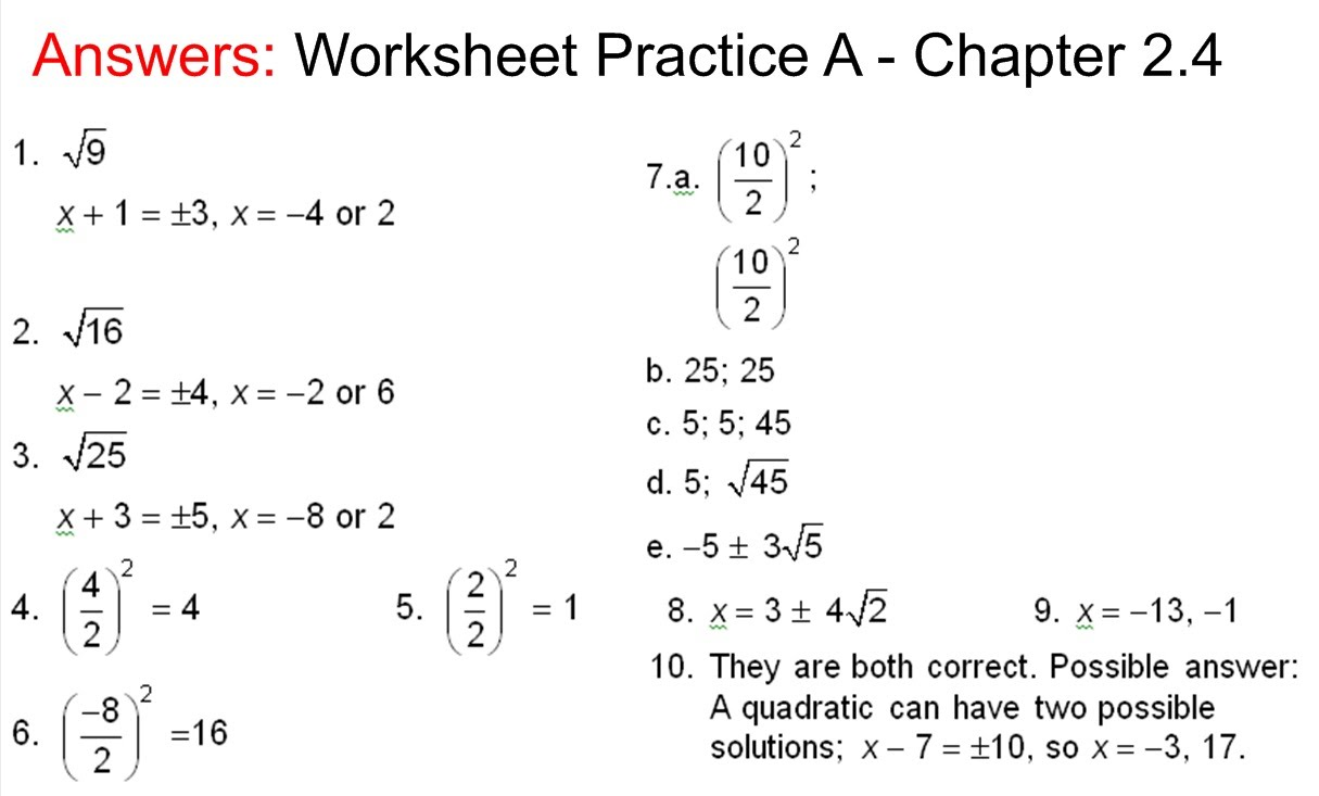 Answers to Practice APractice B Chapter 24 Worksheet Mr Van – Algebra 2 Worksheets Answers