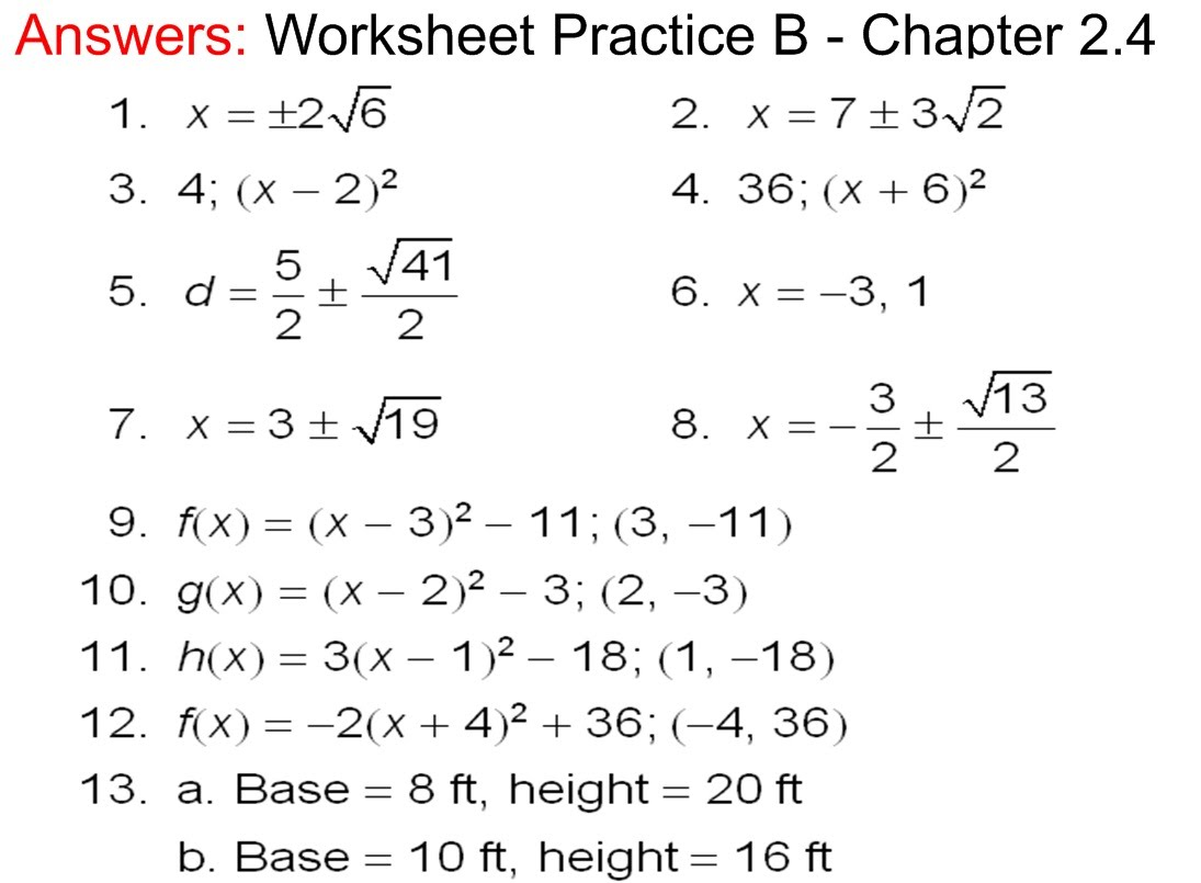 Answers to Practice APractice B Chapter 24 Worksheet Mr Van – Algebra 2 Worksheets