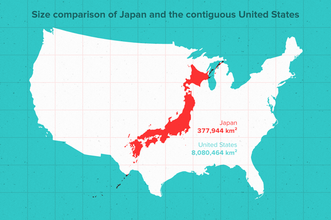 Japan And Us Map Japans size compared to U.S   Vasishtas country project