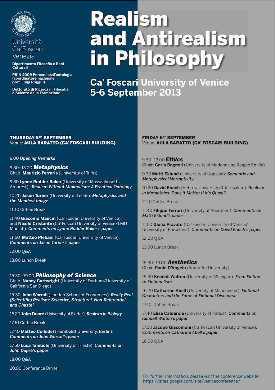 Realism and Antirealism in Philosophy    Venice 10