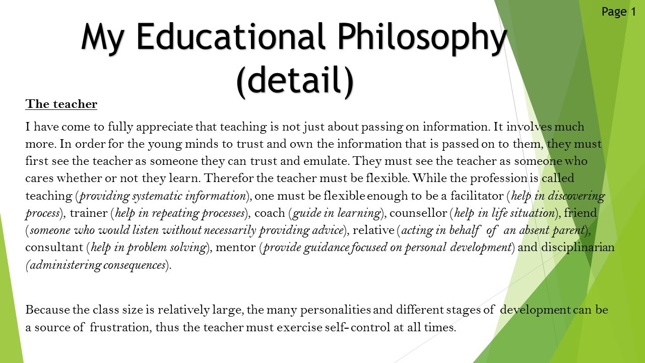 my philosophy of education as a teacher