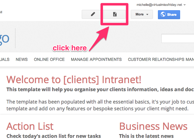 How to create a new web page on google sites template intranet pronofoot35fo Image collections