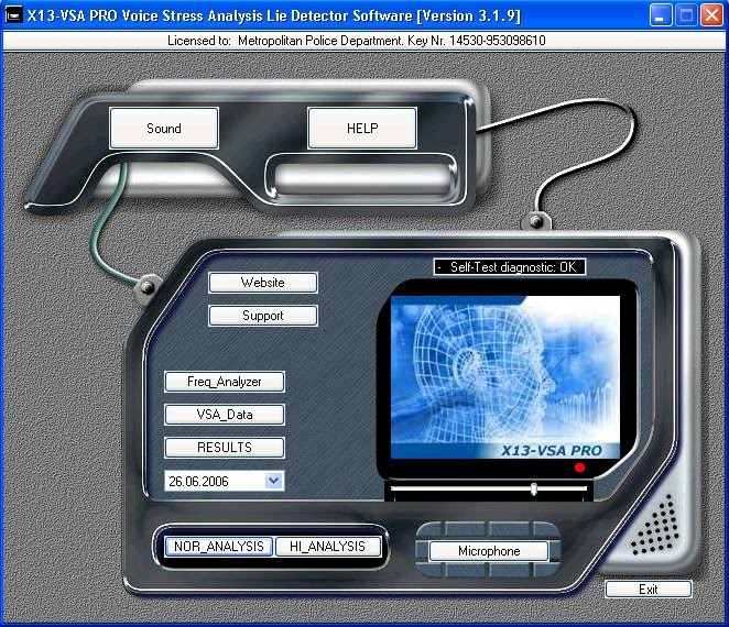 X13-VSA PRO Voice Lie Detector full screenshot