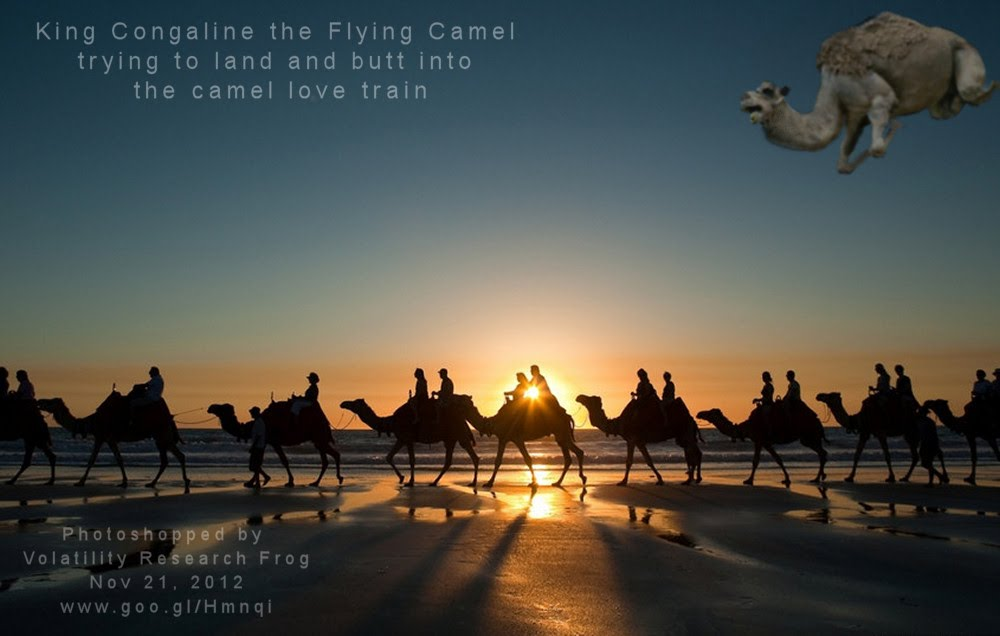 King Congaline the Flying Camel  trying to land and butt into  the camel love train