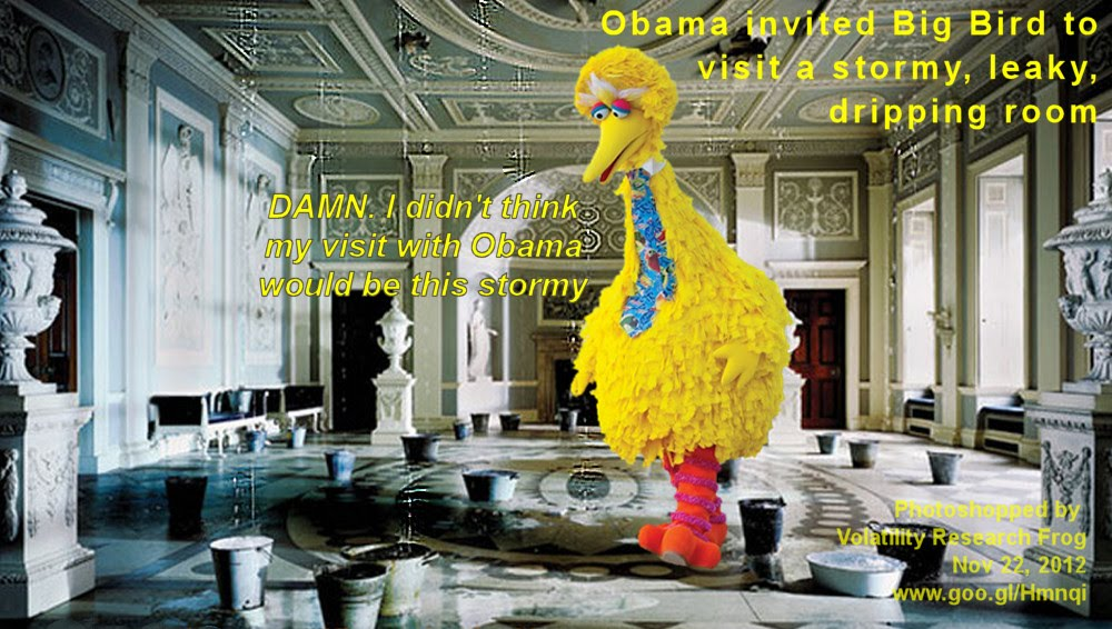 Obama invited Big Bird to visit a stormy, leaky, dripping room