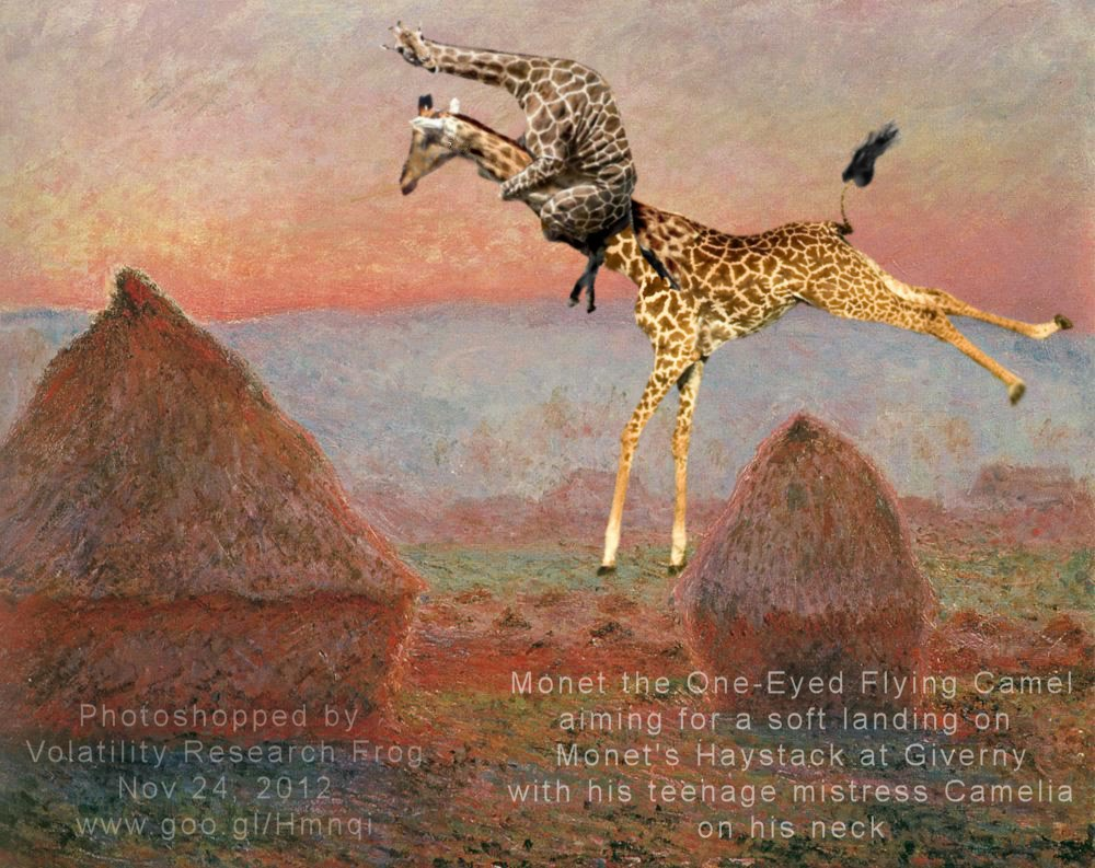 Monet the One-Eyed Flying Camel aiming for a soft landing on Monet's Haystack at Giverny with his teenage mistress Camelia on his neck