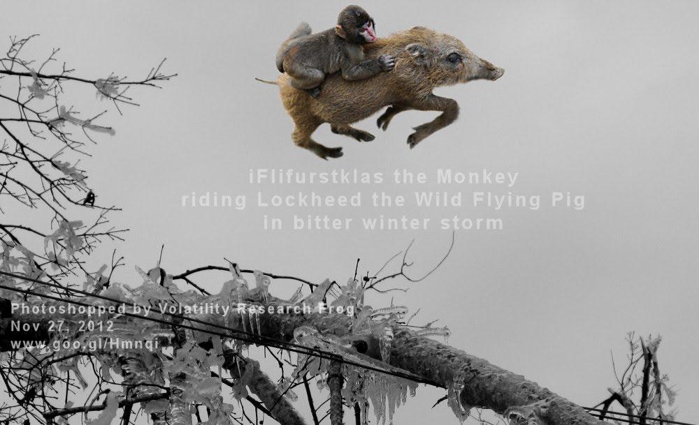 iFlifurstklas the Monkey riding Lockheed the Wild Flying Pig in bitter winter storm