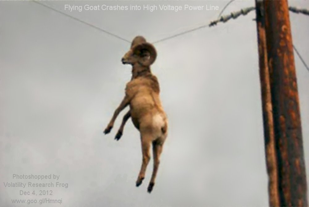 Dec 4, 2012  Flying Goat Crashes into High Voltage Power Line    Photoshopped by Volatility Research Frog  Dec 4, 2012  www.goo.gl/Hmnqi