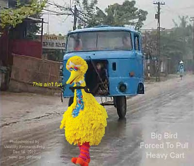Dec 14, 2012  Big Bird Forced To Pull Heavy Cart