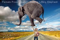 Female Power Topless Woman Lifting Elephant (Volatility Research) 1000w