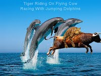 Tiger Riding On Flying Cow Racing With Jumping Dolphins (Volatility Research) 1000w