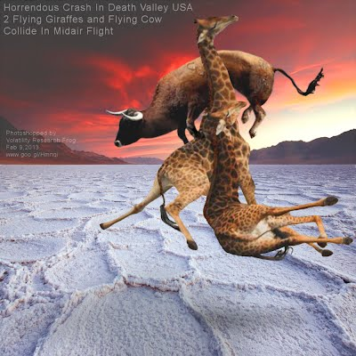 Horrendous Crash In Death Valley USA 2 Flying Giraffes and Flying Cow Collide In Midair Flight (Volatility Research) 1000w