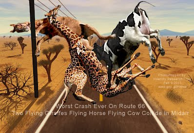 Worst Crash Ever On Route 66 Two Flying Giraffes Flying Horse Flying Cow Collide In Midair (Volatility Research) 1000w