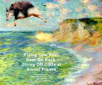 Flying Cow With Bear On Back Diving Off Cliffs Amont France (Volatility Research) 1000w