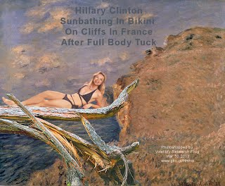 Hillary Clinton Sunbathing In Bikini On Cliffs In France After Full Body Tuck (Volatility Research) 1000w