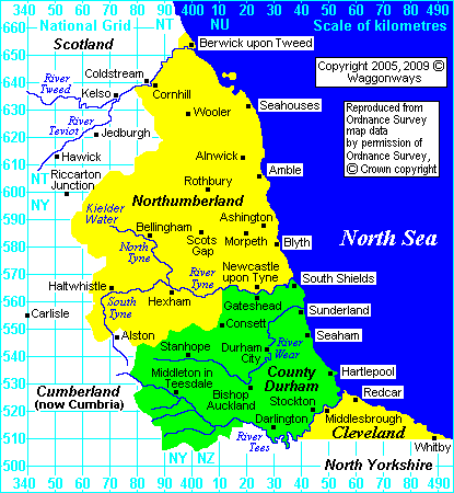 Keymap of Northumberland, County Durham and Cleveland, North Yorkshire UK