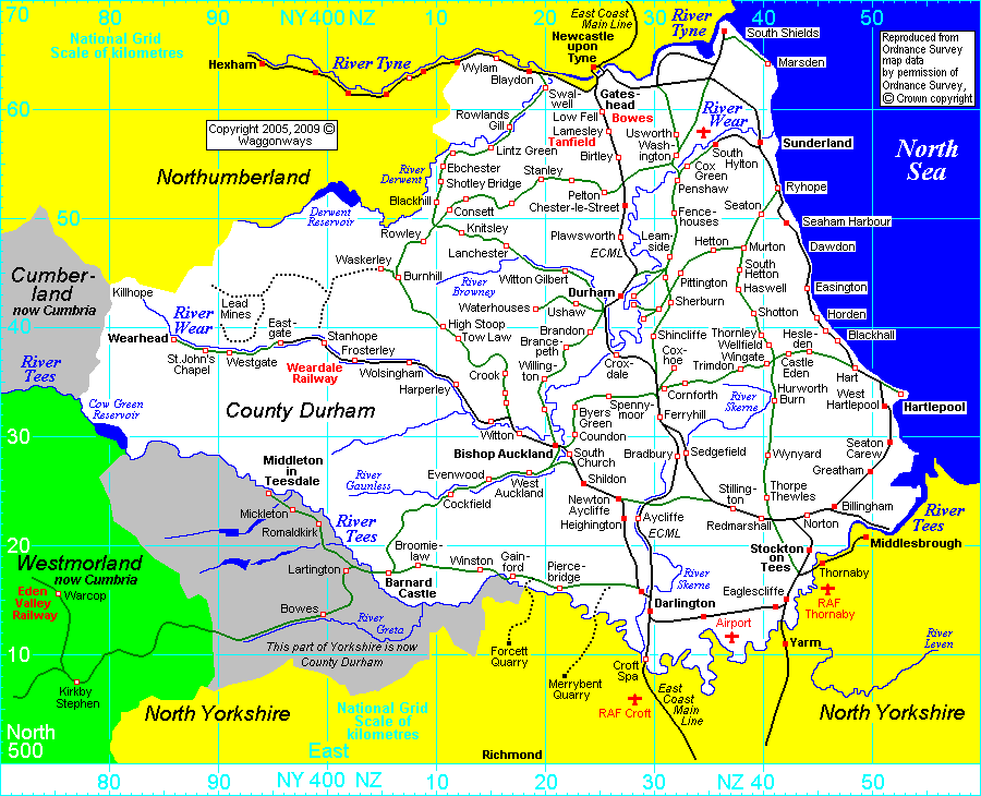 Durham County Map Category D villages in County Durham   Waggonways