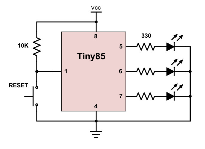 The 3 LEDs are each wired through a 330 ohm resistor to limit the current.