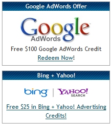 Adwords, Bing and Yahoo coupons