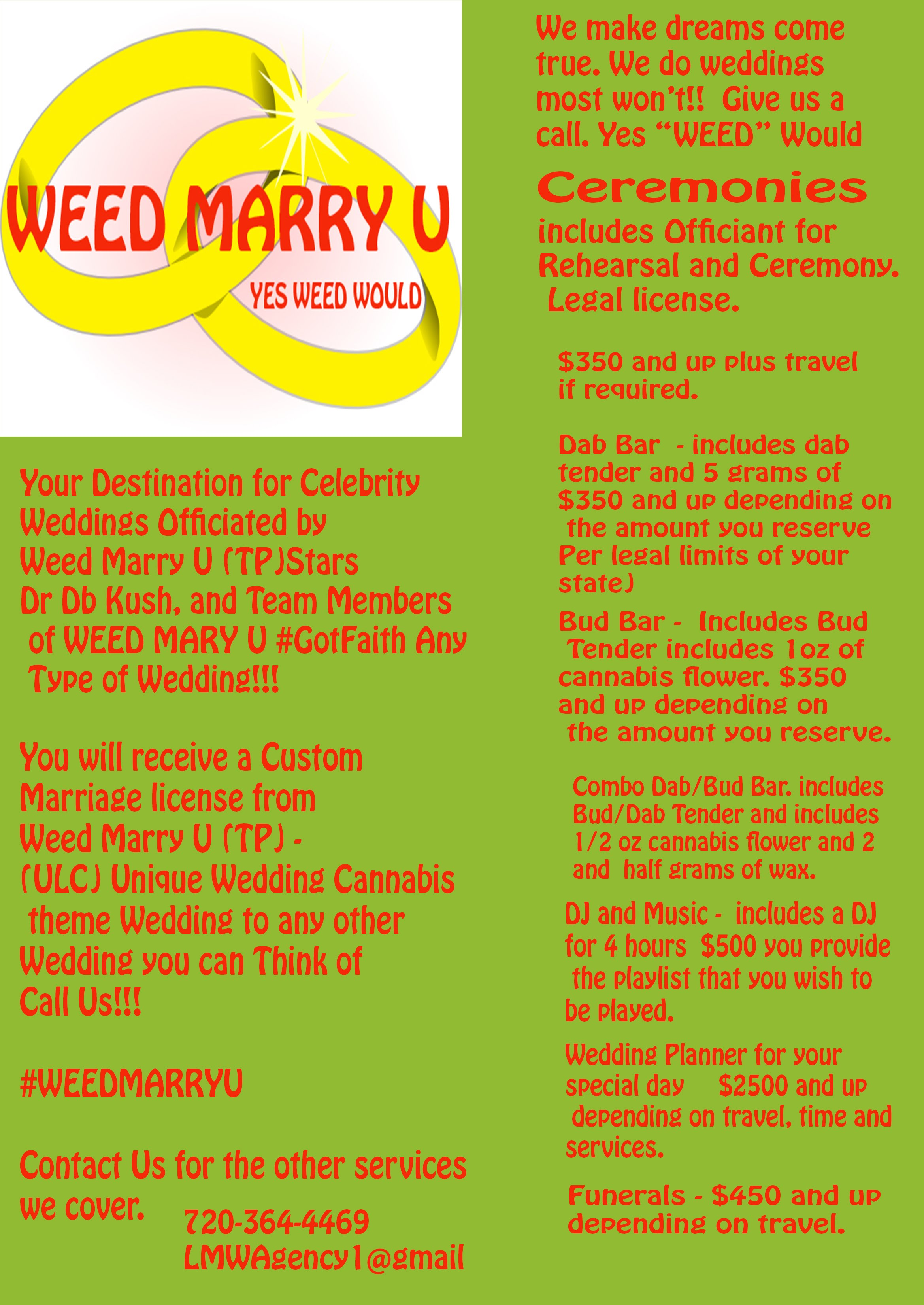 Google themes weed - You Will Receive A Custom Marriage License From Weed Marry U Tp Ulc Unique Wedding Cannabis Theme Wedding To Any Other Wedding You Of Call Us