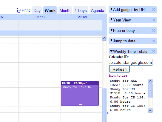 Google Calendar Gadget Weekly Time Counts