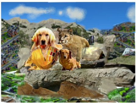 Wild-dog Willy, Pussy Wildcat, and the Little Wiener Dog on an average day in the aftermath of the story recorded in song at: http://www.fandalism.com/wej7/cdJf