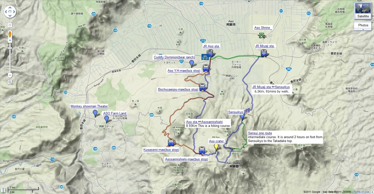 005 google map of the aso hiking course mtaso climbing route map jr timetable