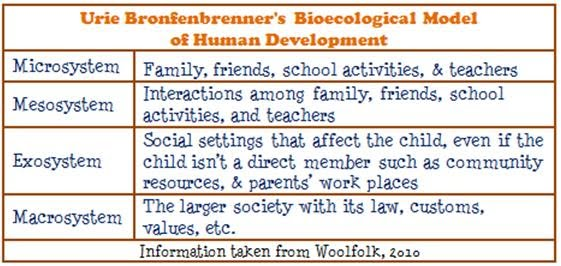 the effects of bronfenbrenners ecological systems piagets theory of cognitive development and kohlbe Urie bronfenbrenner ecological systems theory explains sample children and young people essay children can develop and acquire the cognitive development.
