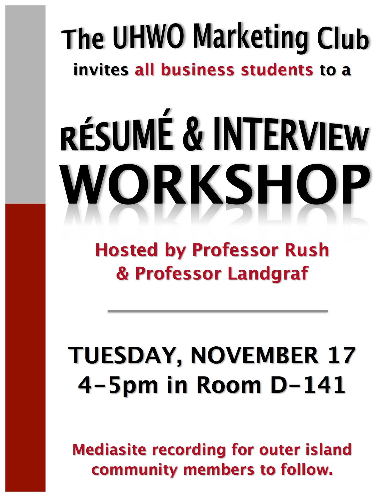 Resume And Interview Flyer  Interview Workshop