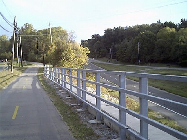 Riding the Bicycle on the Simon Kenton Bike Trail, near Villa Road, Springfield, Ohio