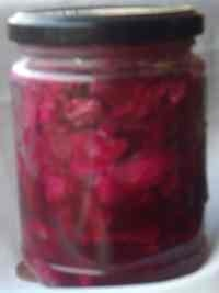 pickled red cabbage in liquid