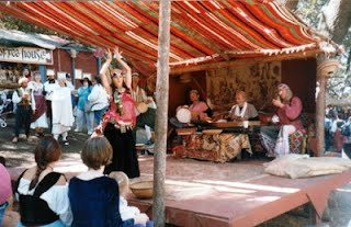 Mid 1990s Northern Faire, unidentified dancer, musicians: Janno, Don Brown, Darioush, and Paul W