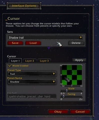 Interface options pane manipulating a shadowy cursor.