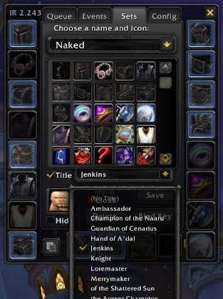 The ItemRack options window showing off a new title dropdown menu.