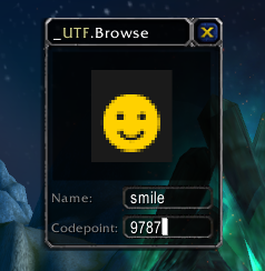 UTF input dialog opened to a smiley face character