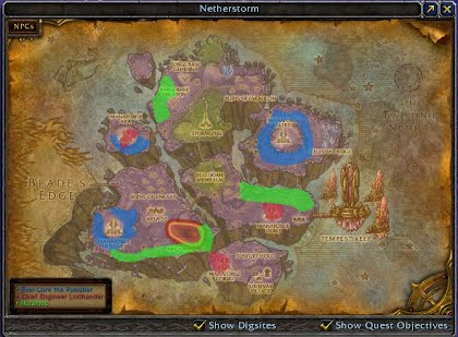 Three mob paths drawn onto the World Map of Netherstorm.