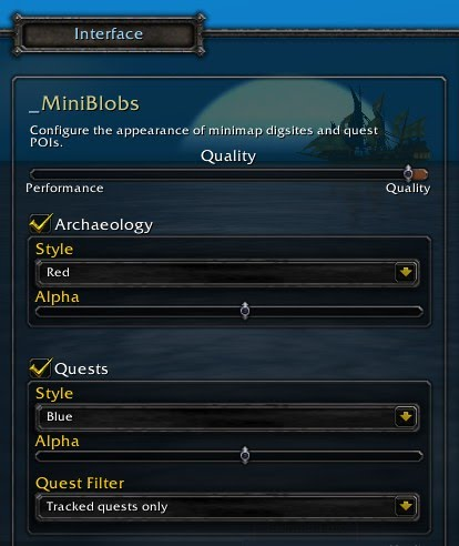 The options window contains settings for blob quality and individual settings for quest and archaeology blob appearance.