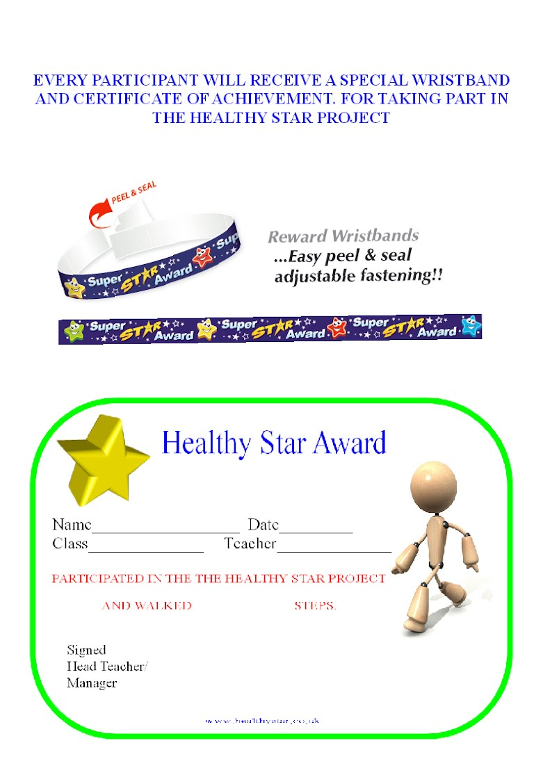 Healthy Star Winners Trophy Award Special Wristband Award