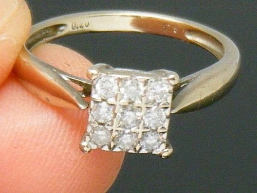 UK Hallmarked 9ct Yellow Gold 0.33ct Solitaire Ladies Engagement Ring size S