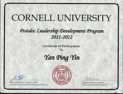 Postdoc Leadership Certificate Program - Yanping Yin