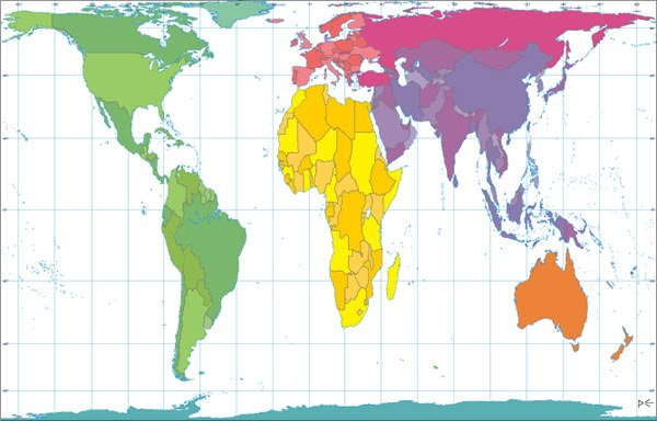 Mercator Projection Map Gall Peters projection and Mercator projection   The World of