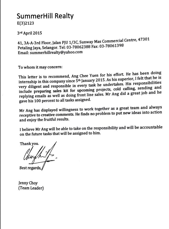 Testimonial reference letter from employer yueninternship2015 testimonial reference letter from employer expocarfo
