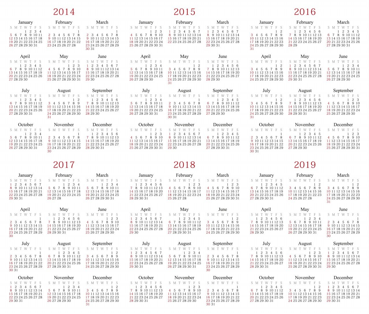 Yearly Calendar 2014 2019 2014   2019 Calendar   Yuhl Travel