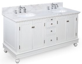Spectacular Low Price on Bella inch Bathroom Vanity White White Includes Cabinet Soft Close Drawers with Marble Countertop Double Ceramic Sinks and Chrome Faucets